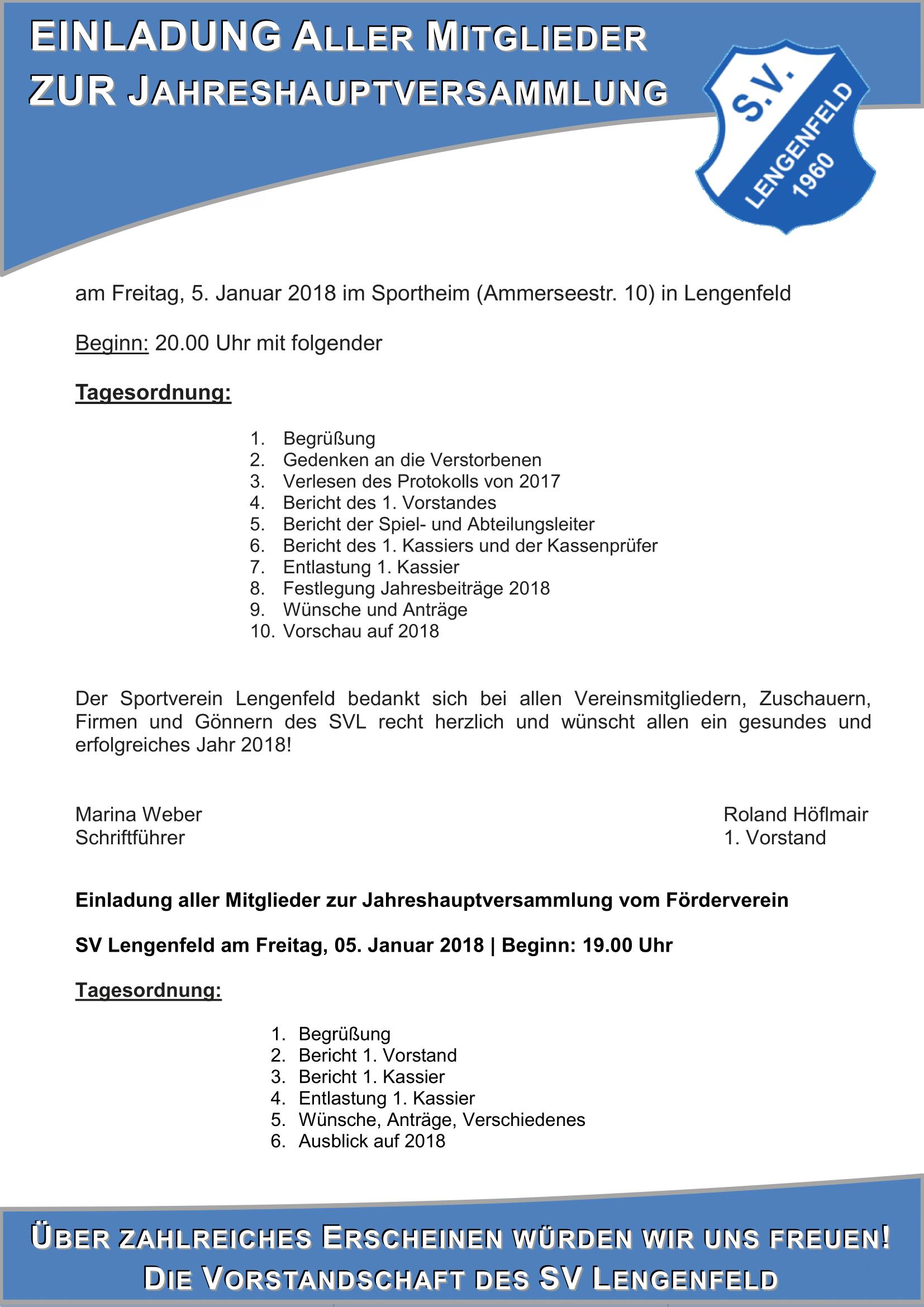 Einladung Jahreshauptversammlung SVL 2018